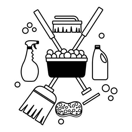 cubo de lavado escoba fregona cepillo de esponja herramientas de limpieza de primavera Ilustración de vector
