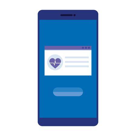 smartphone with heart cardio vector illustration design