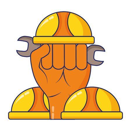 raised hand helmet tools construction vector illustration Stok Fotoğraf - 129435534
