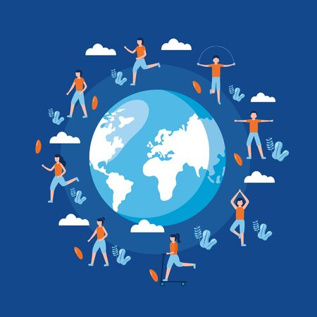 people exercise nature world health day vector illustration