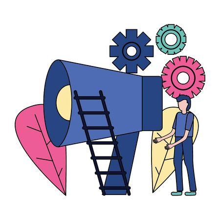 business man megaphone gears ladder vector illustration