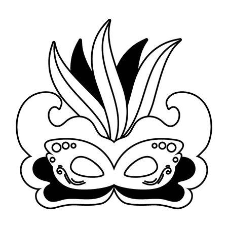 mask feathers brazil carnival celebration vector illustration