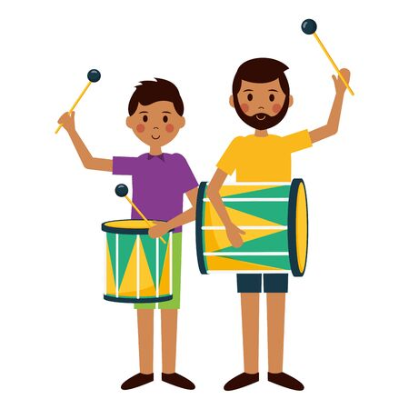 man and boy with drum carnival party vector illustration Иллюстрация