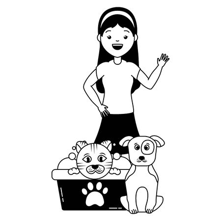 woman and animals pet grooming vector illustration