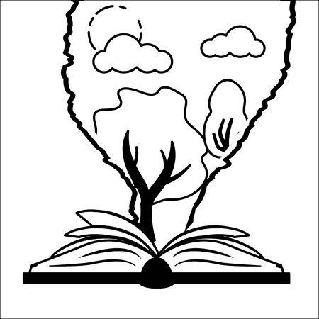 textbook tree nature torn paper - world book day vector illustration Ilustração