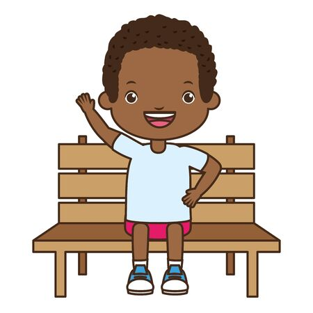 boy sitting on bench white background vector illustration