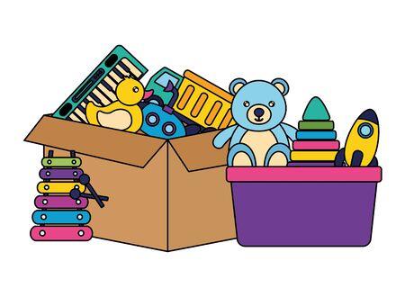 bear rocket pyramid truck duck submarine on cardboard box kids toys vector illustration Illustration
