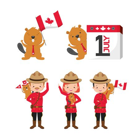 canadian police mounted woman and beaver calendar flag happy canada day vector illustration Stock Illustratie