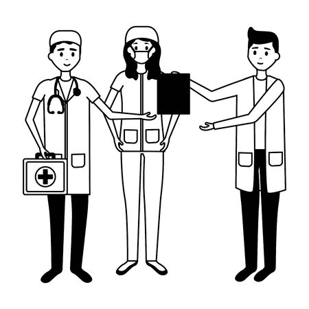 medical woman and men doctors characters professional vector illustration Illustration