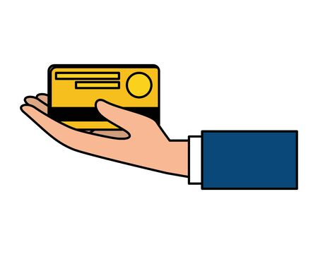 hand lifting credit card vector illustration design