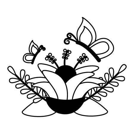 flower butterfly leaves foliage vector illustration design Illustration