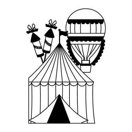 carnival tent air balloon fireworks vector illustration design