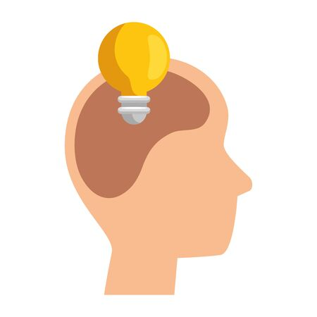 profile with bulb think vector illustration design  イラスト・ベクター素材