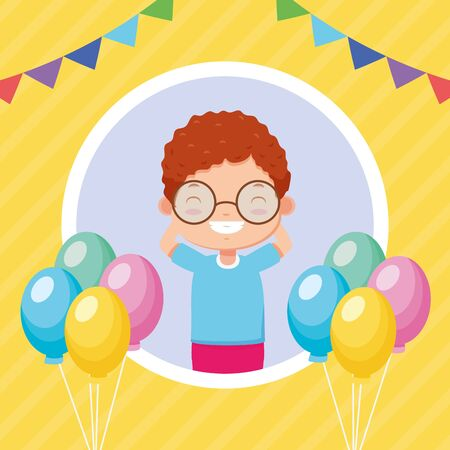 happy boy balloons garland kids zone  vector illustration Stock Illustratie