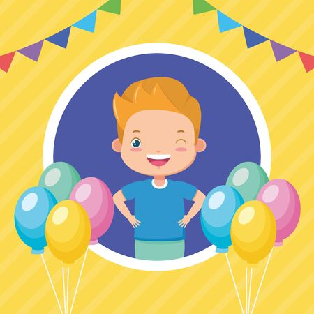 happy boy balloons garland kids zone  vector illustration Ilustração
