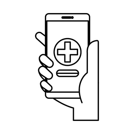 hand using smartphone with medical cross telemedicine vector illustration design