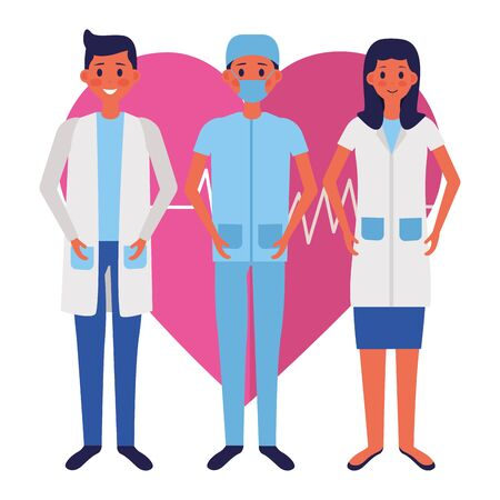medical men and woman characters professional vector illustration