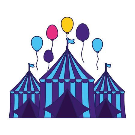 Ballons de tente de carnaval conception d'illustration vectorielle festive