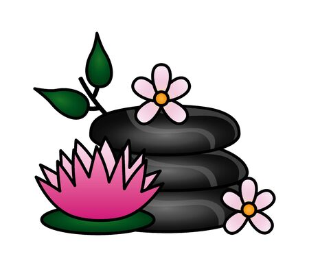 stones and flowers lotus spa treatment therapy vector illustration