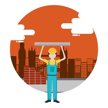 worker construction tool city background vector illustration Illusztráció