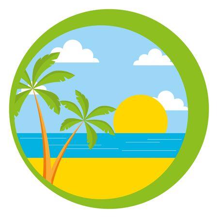 beach palm sun sea sticker summer vector illustration Vetores