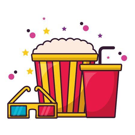 pop corn soda 3d glasses cinema movie vector illustration