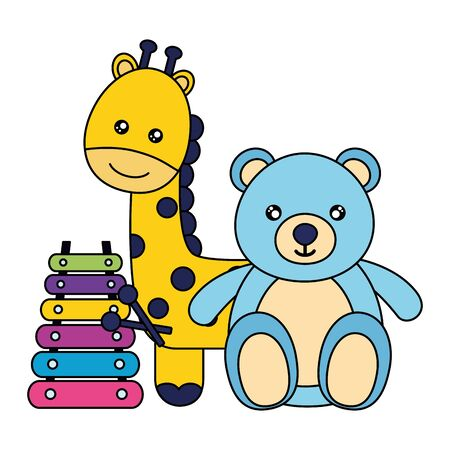 kids toys bear giraffe and xylophone vector illustration Foto de archivo - 129343018