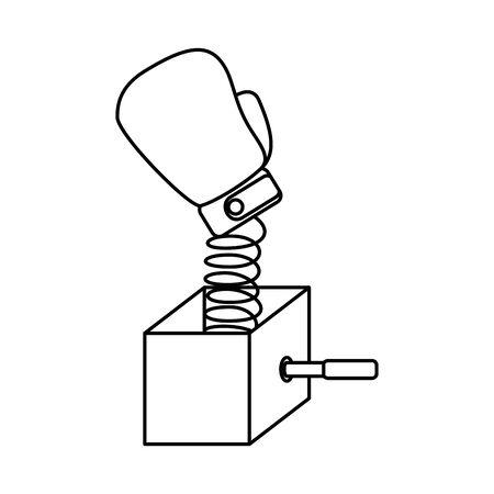 surprise box with boxing glove vector illustration design Banque d'images - 129482539
