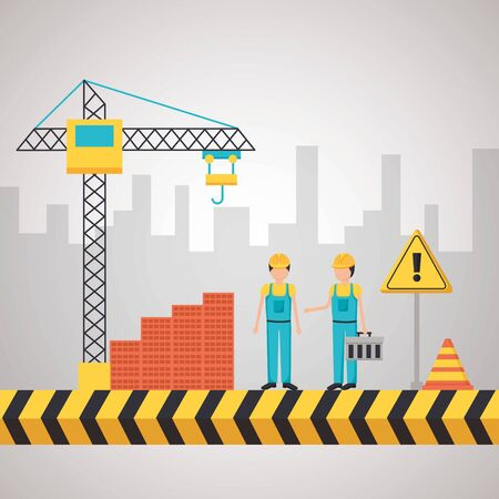 workers construction toolbox bricks crane city vector illustration Banco de Imagens - 129526565
