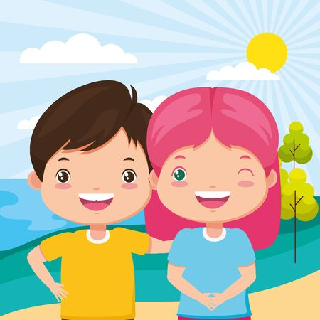 boy and girl in the park - kids zone vector illustration