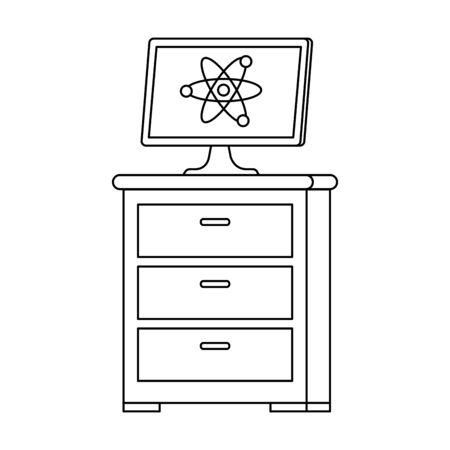 desktop with atom molecule in drawer vector illustration design Ilustrace