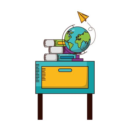 desk school globe books teachers day card vector illustration