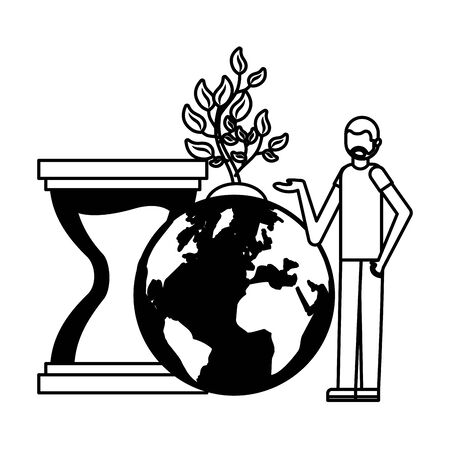 man world hourglass plant earth day vector illustration