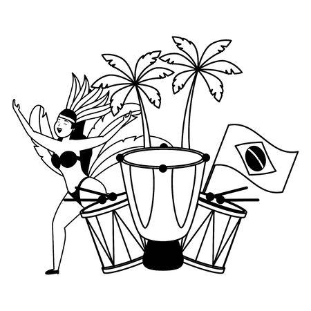 dancer flag drum brazil carnival celebration vector illustration