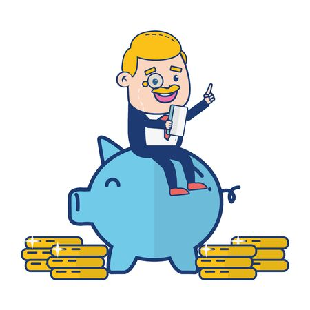 businessman sitting on piggy money online banking vector illustration