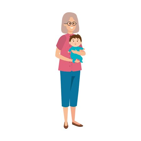 cute grandmother with baby vector illustration design Ilustração