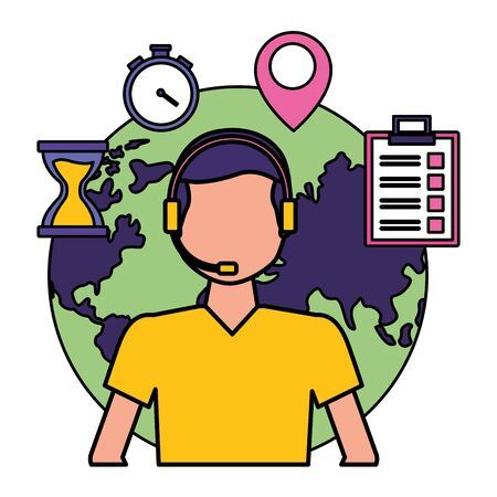 operator man world clock navigation pointer fast delivery vector illustration Foto de archivo - 129528351