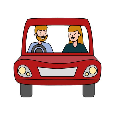 couple in the car white background vector illustration design Ilustrace