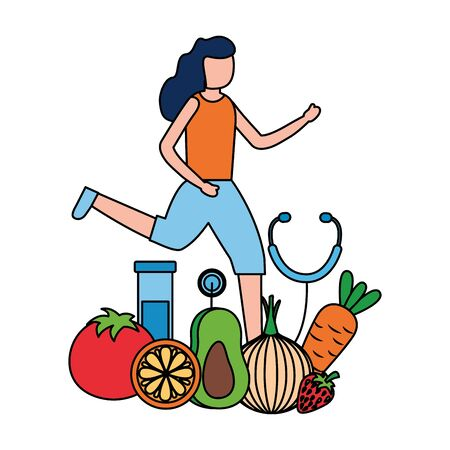woman fruits vegetables medicine world health day vector illustration