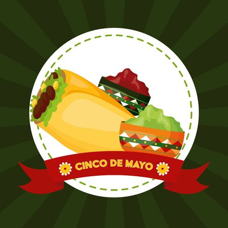 taco guacamole sauce mexico cinco de mayo emblem vector illustration