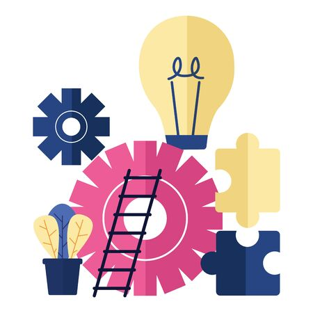 business bulb gear ladder puzzles vector illustration Ilustração