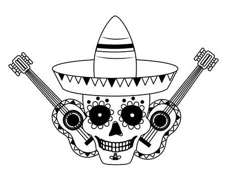 skull guitars and hat mexico cinco de mayo vector illustration Vector Illustration