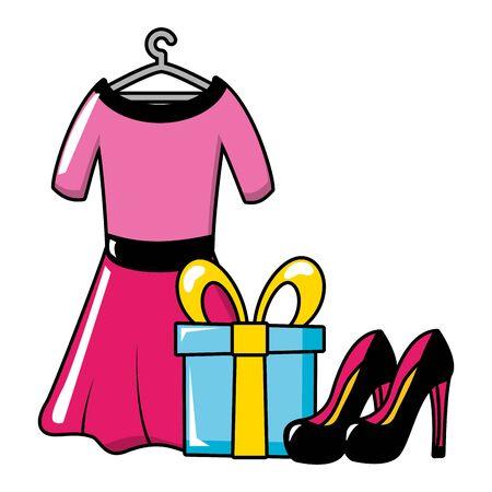 dress gift box high heel shoes pop art vector illustration