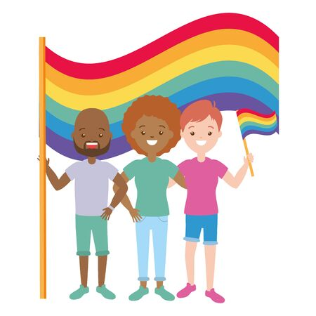man and women flag lgbt pride vector illustration