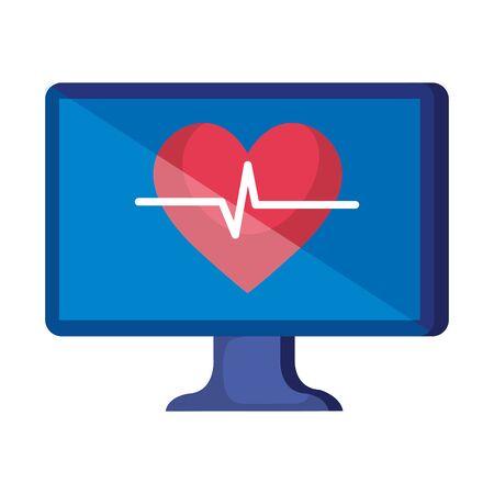 desktop with heart cardio telemedicine vector illustration design Ilustrace