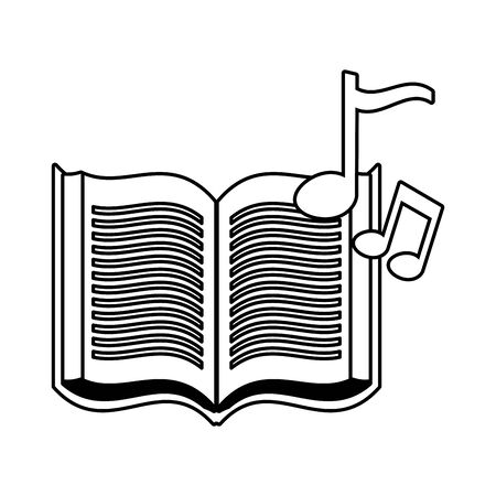 open book and note music on white background vector illustration