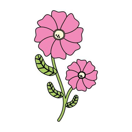 flower with stem and leaves white background vector illustration Illusztráció