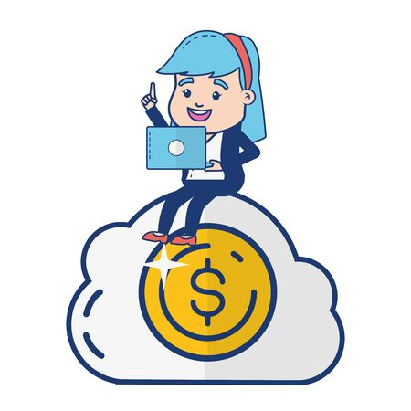 woman cloud computing money online banking vector illustration Stock Vector - 129532425