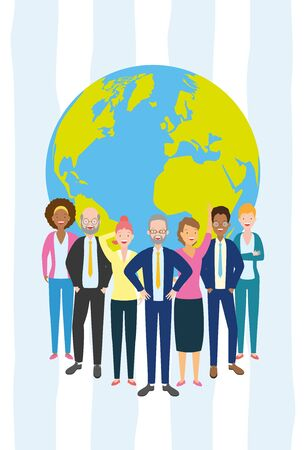 diversity man and woman characters world people vector illustration