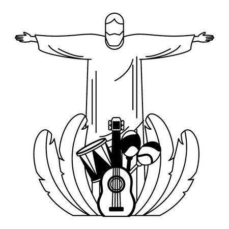 christ guitar drum maracas feathers brazil carnival vector illustration Illustration